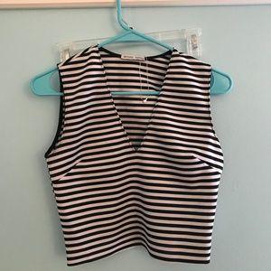Zara Striped Scuba V-Neck Crop Top